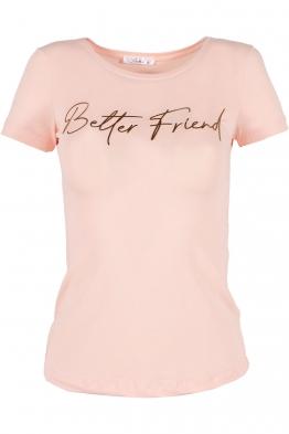 Дамска тениска BETTER FRIEND ябълков цвят