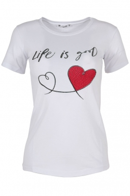 Дамска тениска LIFE IS GOOD бяла