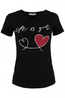 Дамска тениска LIFE IS GOOD черна