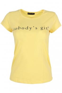 Дамска тениска NOBODY жълта