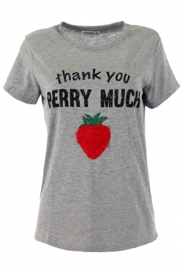 Дамска тениска STRAWBERRY сива