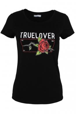 Дамска тениска TRUE LOVELY черна