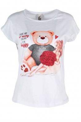 Дамска тениска BEAR AND GIRL бяла