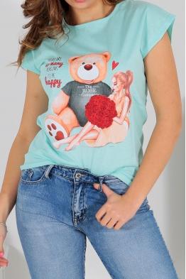 Дамска тениска BEAR AND GIRL резида