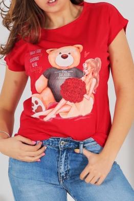 Дамска тениска BEAR AND GIRL червена