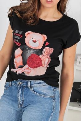 Дамска тениска BEAR AND GIRL черна