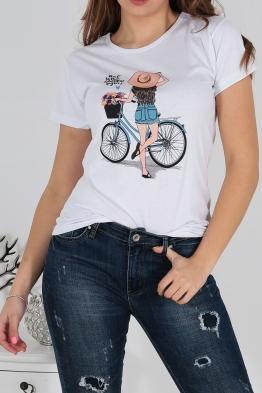 Дамска тениска BIKE бяла