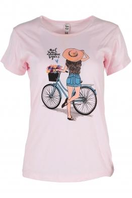 Дамска тениска BIKE розова