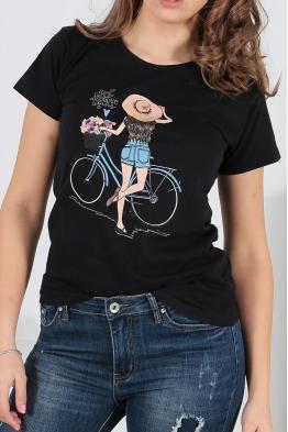 Дамска тениска BIKE черна