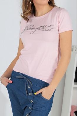 Дамска тениска BONJOUR розова