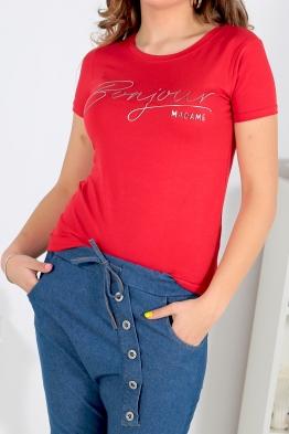 Дамска тениска BONJOUR червена