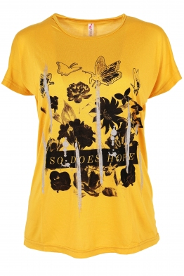 Дамска тениска BUTTERFLY жълта