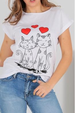 Дамска тениска CAT LOVE бяла