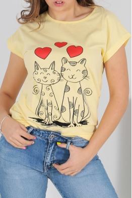 Дамска тениска CAT LOVE жълта