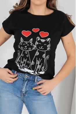 Дамска тениска CAT LOVE черна