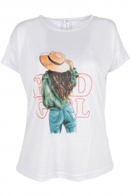 Дамска тениска HAPPY GIRL бяла