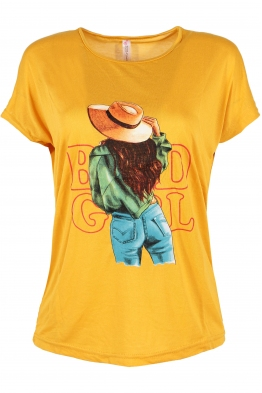 Дамска тениска HAPPY GIRL жълта