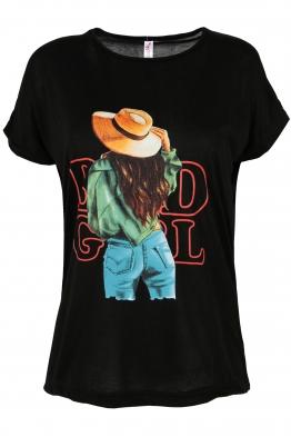 Дамска тениска HAPPY GIRL черна