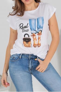 Дамска тениска POEM А-4 бяла