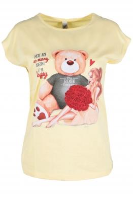 Дамска тениска BEAR AND GIRL жълта