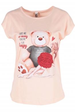 Дамска тениска BEAR AND GIRL розова