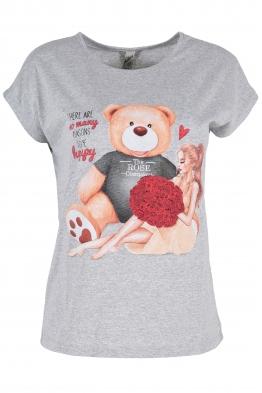 Дамска тениска BEAR AND GIRL сива