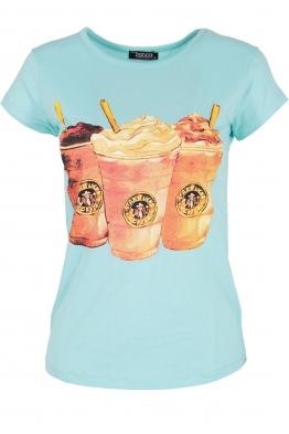 Дамска тениска COFFEE мента