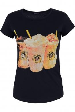 Дамска тениска COFFEE тъмно синя