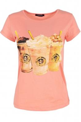 Дамска тениска COFFEE ябълков цвят