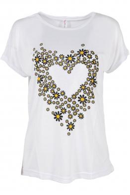 Дамска тениска DAISY HEART бяла