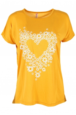 Дамска тениска DAISY HEART жълта
