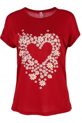 Дамска тениска DAISY HEART червена