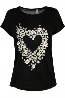Дамска тениска DAISY HEART черна