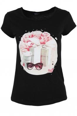 Дамска тениска GIFT черна