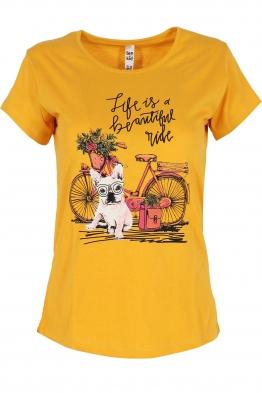 Дамска тениска MY DOG  жълта
