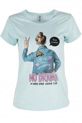 Дамска тениска NO DRAMA бледо синя