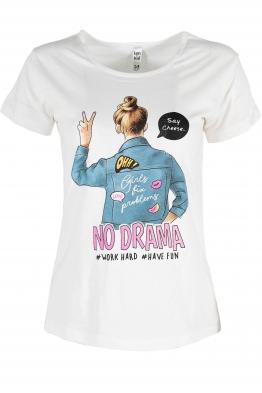 Дамска тениска NO DRAMA бяла