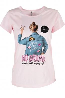 Дамска тениска NO DRAMA розова