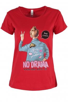 Дамска тениска NO DRAMA червена