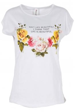 Дамска тениска FLOWERS бяла
