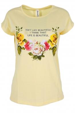 Дамска тениска FLOWERS жълта