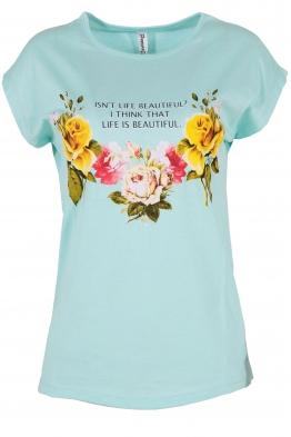 Дамска тениска FLOWERS резида