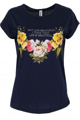 Дамска тениска FLOWERS тъмно синя