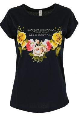 Дамска тениска FLOWERS черна