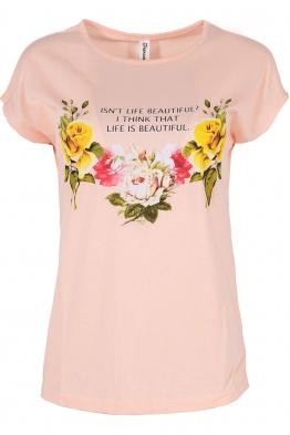 Дамска тениска FLOWERS ябълков цвят