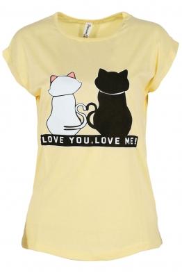 Дамска тениска LOVE YOU - LOVE ME жълта