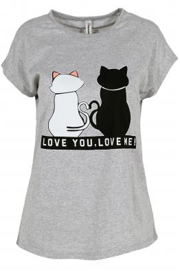 Дамска тениска LOVE YOU - LOVE ME сива