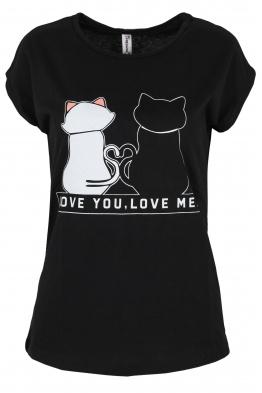 Дамска тениска LOVE YOU - LOVE ME черна