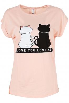 Дамска тениска LOVE YOU - LOVE ME ябълков цвят