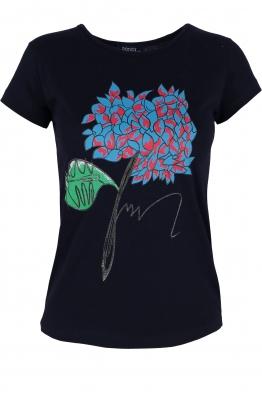 Дамска тениска WOOD тъмно синя